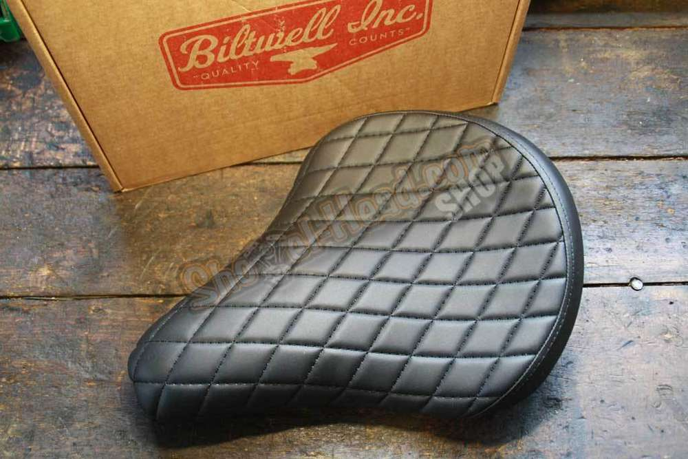 Biltwell Solo Sitz, Diamant-Naht, schwarz, zur Custom verwendung ...