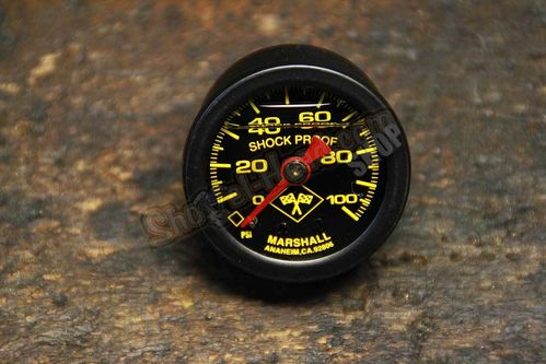 Marshall Oil Pressure Gauge, black, 0-100 PSI