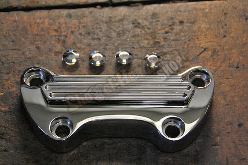 Handlebar Top Clamp, chromed, finned, w/o skirt