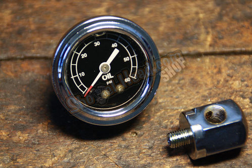Rockerbox based Oil Pressure Gauge, Early Shovel 66-70 / Sportster© 57-70