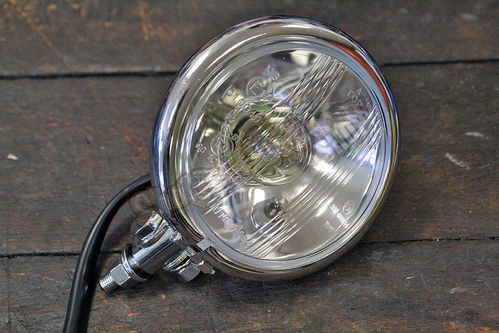 "Bates-Style Headlight, chromed, Diameter 4 1/2"", Bilux"