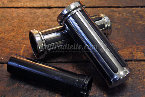 """Rail Grips"", chromed Metal Grips with Rubber Inalys, 1"" bars"