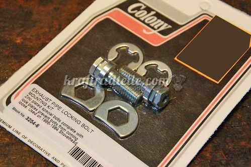 Shovelhead Exhaust Bolt Locking Kit, Colony, zinc plated