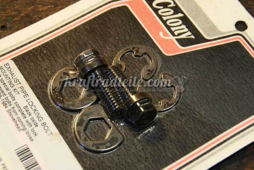 Shovelhead Exhaust Bolt Locking Kit, Colony, black oxide