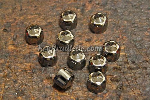 "Ciro Diamond Crown Bolt Covers, black chrome, for 1/4"" Allen Head Bolts, Pack of 10"