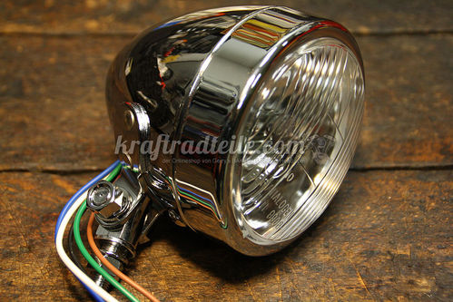 "3-1/2"" Headlight, H4, E-approved, chromed, Bottom mount"